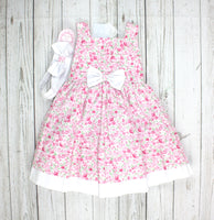 floral dress, girls dress, dress with headband, pink dress