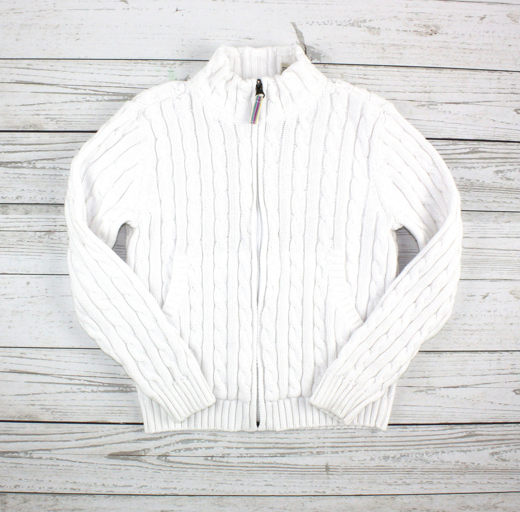 L.L. Bean sweater, white sweater, white cardigan