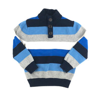 Gymboree sweater, striped sweater, blue and grey sweater, boys sweater