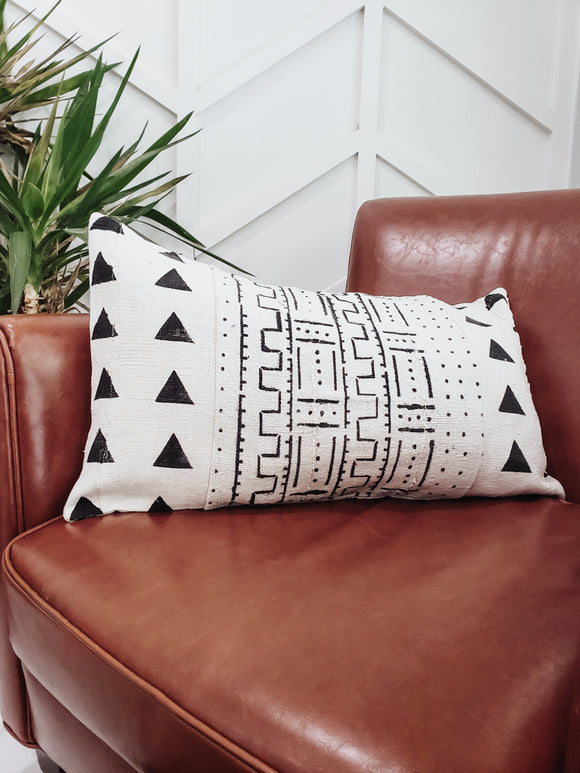 White Mudcloth Lumbar Pillow Triangles Abstract