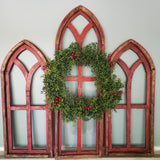Set of Red Cathedral Wall Arches with a holly berry wreath.