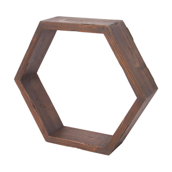 Hexagon Honeycomb Wood Shelf