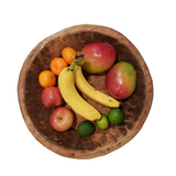 Round Solid Wood Fruit Bowl, Hand-carved, Farmhouse Style