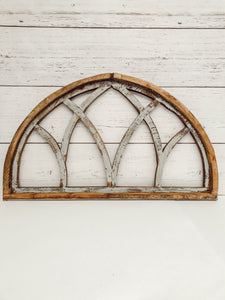 Half moon wood window wall arch. Gray rustic distressed finish.
