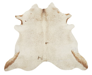White with Brown Speckled Cowhide Rug