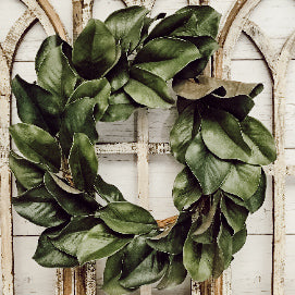17 inch magnolia wreath over cathedral window arch set