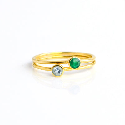 Gold Plated Ring Combo Green Onyx Blue Topaz