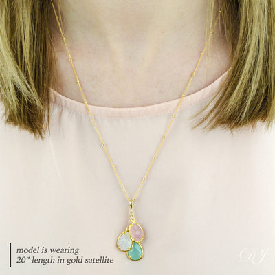 Custom Mother's Birthstone Necklace with Cascading Prong Set Teardrop Gemstones