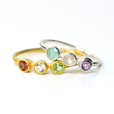 Dainty Triple Birthstone Ring