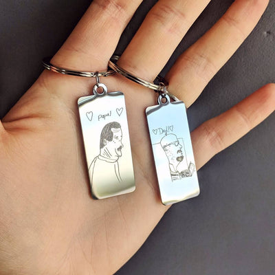 High Quality Personalized Drawing or Signature Keychain, Medium Rectangle