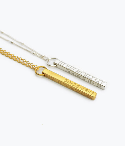 Dainty Engraved 3D Bar Necklace