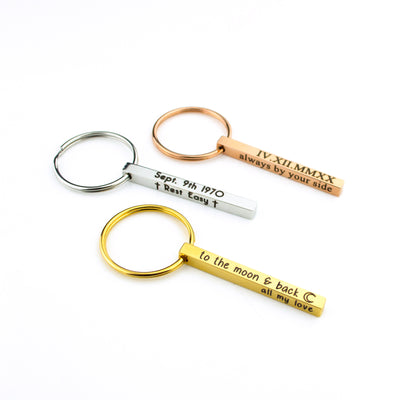 Personalized 3D Bar Keychain, Engraved 4 Sided Keychain
