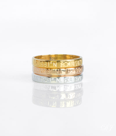 Gold-plated or Rose Gold-plated 3mm wide engraved ring sterling silver custom engraving geographic coordinates