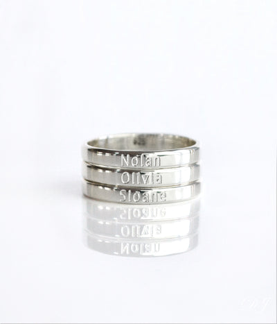 Custom Name Engraved Fingerband Ring - 3mm Width