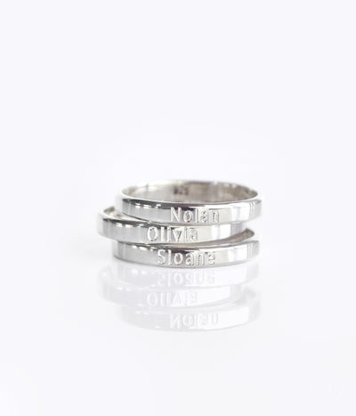3mm ring band personalized with kids names sterling silver