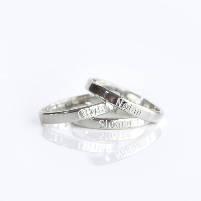 3mm width band engraved ring 925 sterling silver
