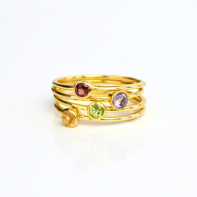 Set of 4 tiny round gemstone rings garnet purple amethyst peridot citrine birthstones vermeil gold plating