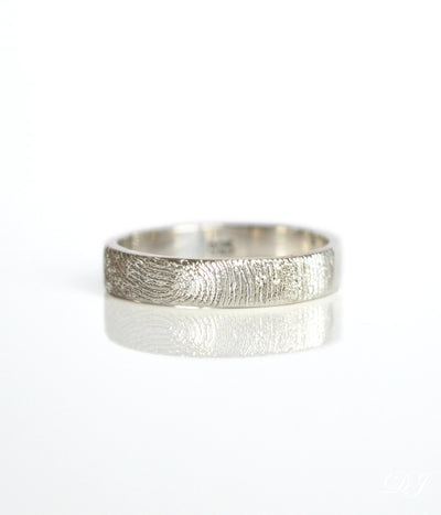 Custom Fingerprint Engraved Ring - 4mm Width