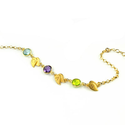 Personalized Bracelet with Birthstones & Leaf Charms