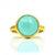 Aqua Chalcedony round bezel set ring - March Birthstone