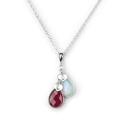 Personalized Birthstone Necklace, Cascading Teardrop Pendants with Leaves