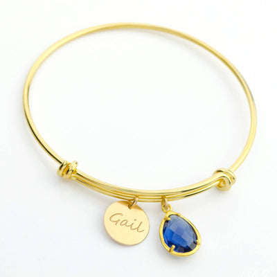 Custom Birthstone Name Bangle