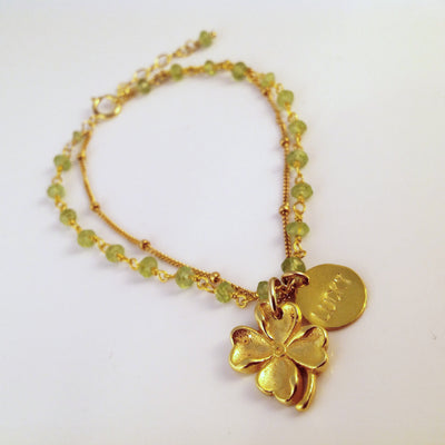 Lucky Four Leaf Clover Bracelet - St. Patrick's Day Jewelry - Adjustable Personalized Bracelet