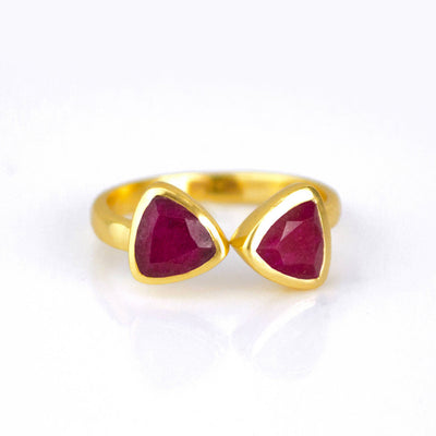 Dyed Ruby Adjustable Triangle Ring, Bow Tie Ring