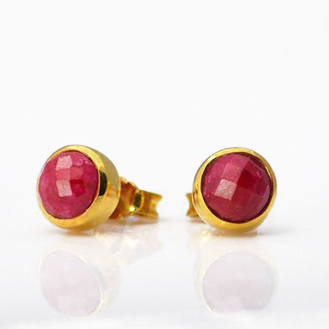 Sterling Silver Faceted Oval RUBY Post Stud Earrings