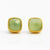 Green Chalcedony Cushion Bezel Set Stud Earrings - August Birthstone