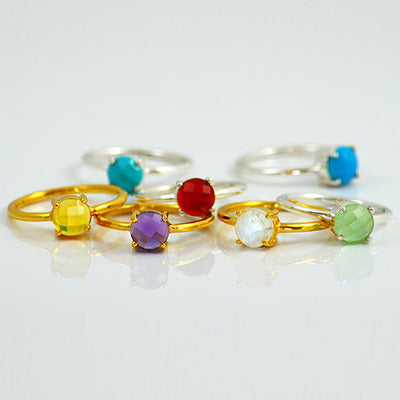 Stackable Birthstone Ring, Prong Set Gemstone Ring