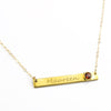 January Custom Bar Necklace with Bezel Birthstone