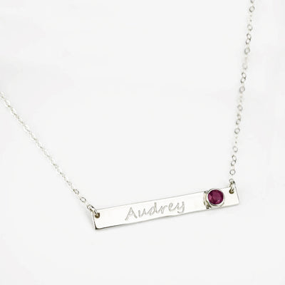 June Custom Bar Necklace with Bezel Birthstone
