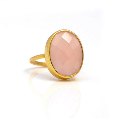 Pink Chalcedony large oval bezel set ring - October Birthstone