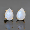 Moonstone Teardrop shape Prong Set Stud Earrings : June Birthstone