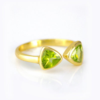 Peridot Quartz Adjustable Triangle Ring, Bow Tie Ring