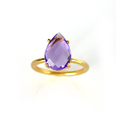 Purple Amethyst Teardrop Ring - February Birthstone