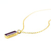 Purple Amethyst Vertical Bar Necklace : February Birthstone : Adira Series