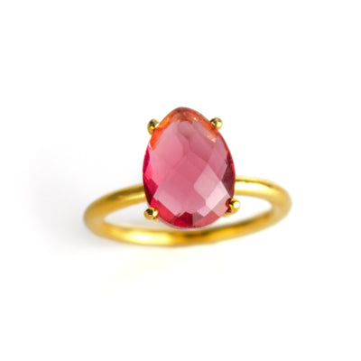 Ruby Teardrop Prong Set Ring - July Birthstone