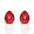 Ruby Teardrop Prong Set Stud Earrings : July Birthstone