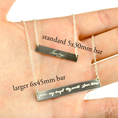 Large Engraved Bar Necklace - Sterling Silver or Gold-Plated, Custom Bar Necklace
