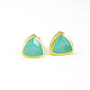 Small Aqua Chalcedony Triangle Studs, Everyday Earrings