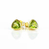 Small Peridot Triangle Studs, Everyday Earrings