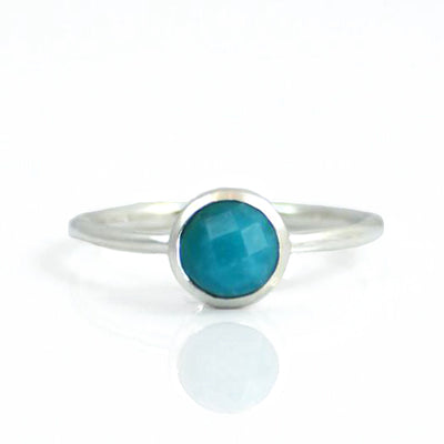Turquoise Round Bezel Set Faceted Ring - December Birthstone - Turquoise Jewelry