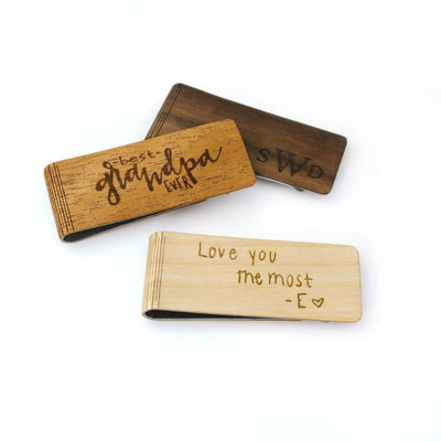 Real Wood Money Clip with Custom Engraving or Handwriting