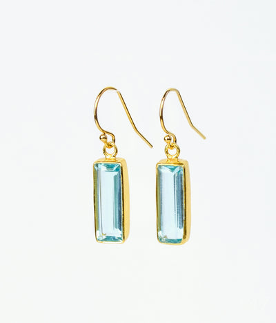 Blue Quartz Bar Drop Earrings, Adira Series, December Birthstone