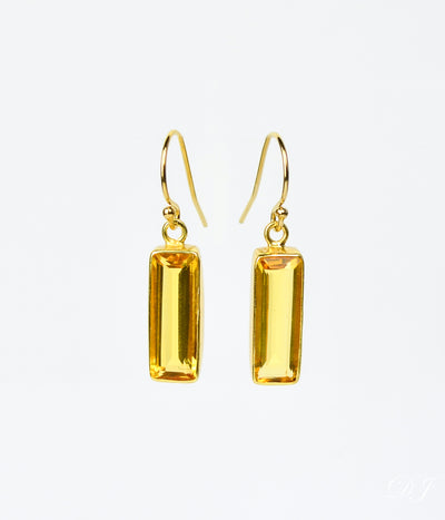 Citrine Bar Earrings : November Birthstone : Adira Series