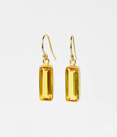 Adira Citrine Bar Drop Earrings