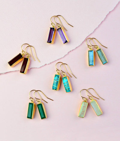 Adira Green Onyx Bar Drop Earrings
