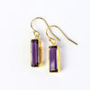 Purple Amethyst Bar Earrings : February Birthstone : Adira Series